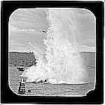 Photograph - glass lantern slide - blowing up whaling brig 'Velocity'