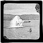 Photograph - glass lantern slide - blowing up whaling brig 'Velocity', Hobart - photograph by B.R. Ash