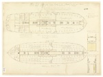 Plan-Ship Anson-lower & orlop decks-fitted out for a female convict ship. Architect, Chatham Yard, U.K