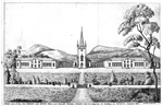Cover image for Front view of the New Church and King's Male and Female Orphan Schools now in progress of building at New Town, January 1831